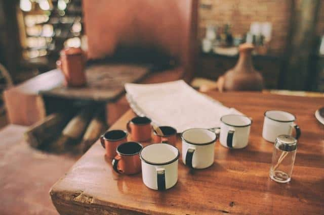 kitchen hacks wood-table-hut-cups
