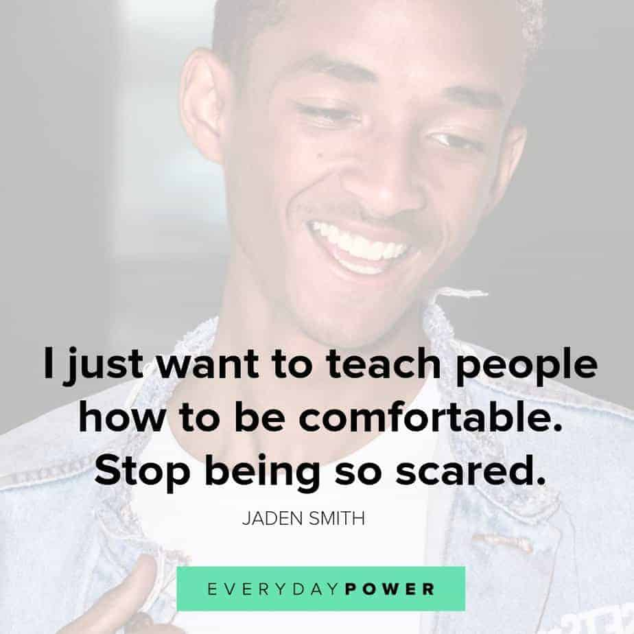 jaden smith about being comfortable