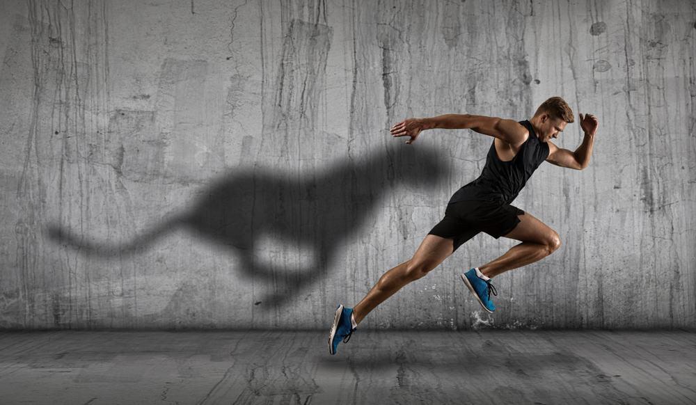 A Man Sprinting