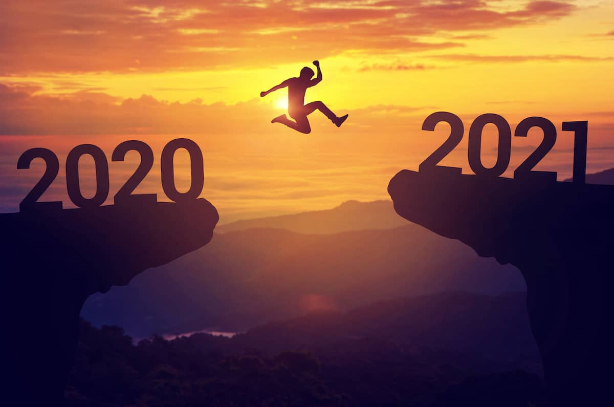 A Man Jumping from 2020 to 2021