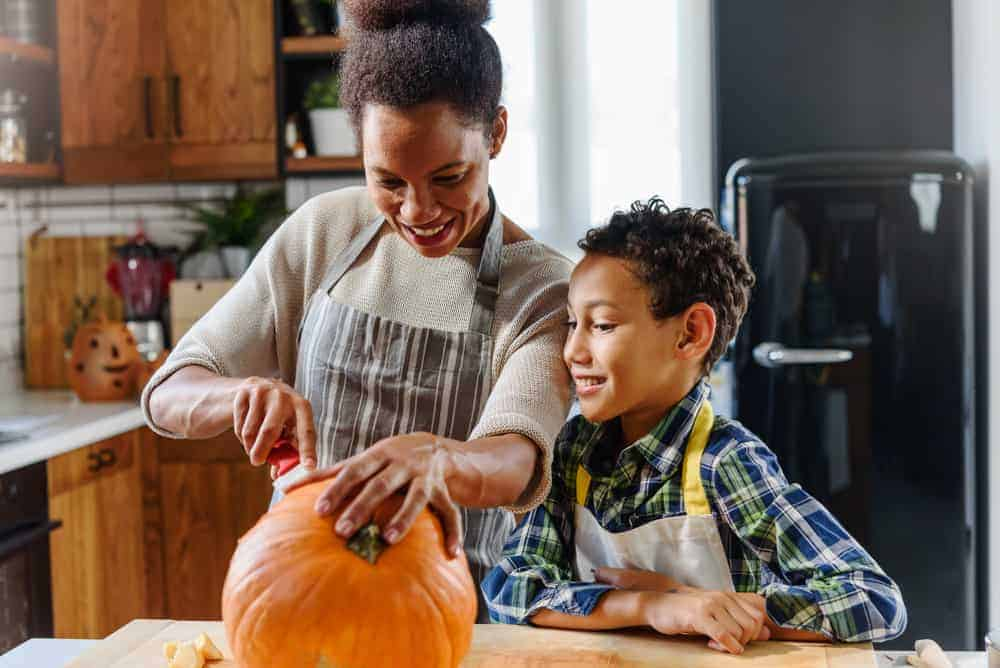 Mother and Son with Pumpkin