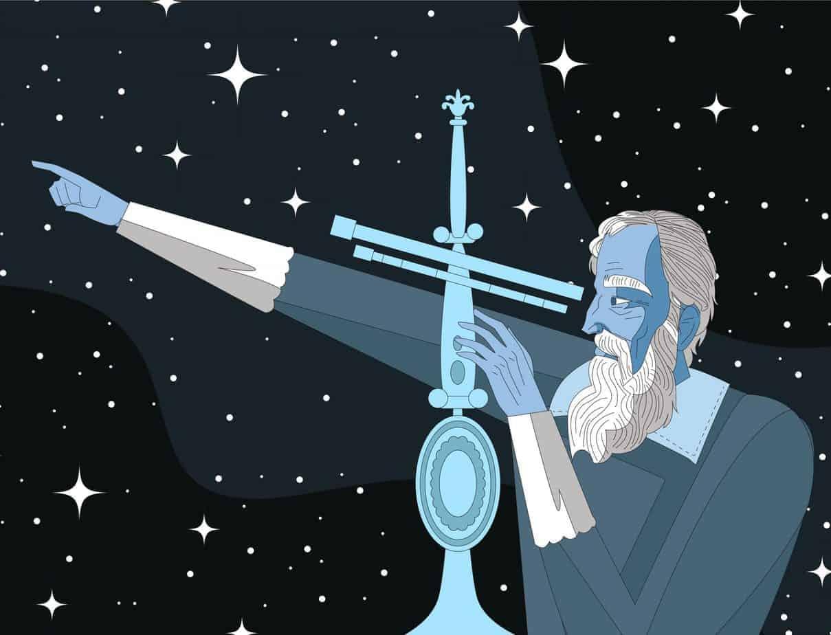 A Drawing of Galileo Galilei
