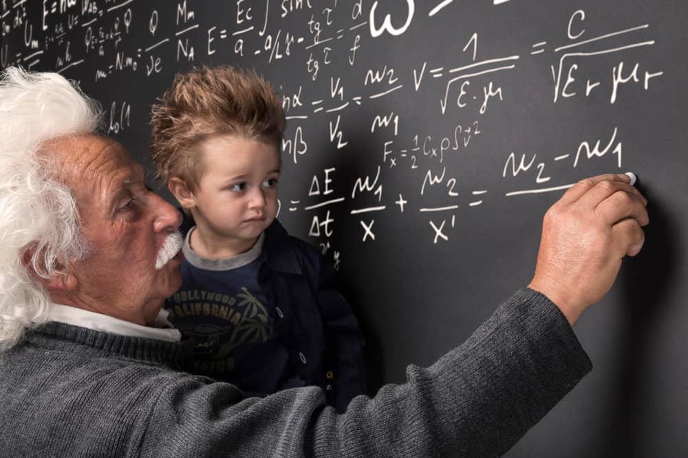 A Picture of Albert Einstein with a Child